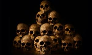 Representation of genocides with photo of stacked human skulls.      Source: papi8888 / Adobe stock.