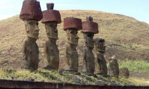 Maoi statues of Easter Island with Pukao