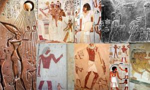 Various depictions of giants in Egyptian art collected by Muhammad Abdo. Source: Muhammad Abdo.