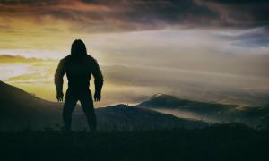 Artistic representation of a standing Gigantopithecus