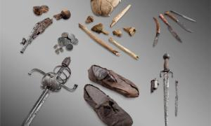 "Glacier artifacts. The bones and personal belongings of the ""Théodule Pass mercenary"", an unidentified man thought to have fallen into a crevasse above Zermatt in the 17th century."