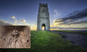 Glastonbury Tor. Source: vlorzor / Adobe. Inset: Representational image of a skeleton.
