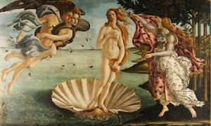 Famous painting depicts the goddess Aphrodite-Venus, having emerged from the sea as a fully grown woman, arriving at the sea-shore.
