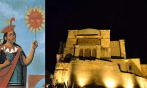 Colonial image of Manco Cápac and the Sun God, Inti. (Public Domain),Koricancha (Author Provided)