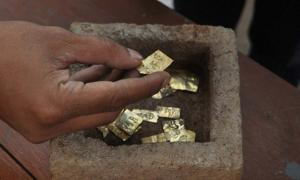 22 Ancient Gold Plates Inscribed with Names of Gods Unearthed in Stone Box in Java