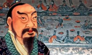 A portrait painting of Emperor Gao of Han (Liu Bang), from an 18th-century Qing Dynasty album of Chinese emperors' portraits. (Public Domain) Background: A tomb painting of a late Eastern-Han period lively banquet.
