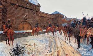 'Mongols at the Walls of Vladimir' by Vasily Maksimov. Depiction of Mongols of the Golden Horde outside Vladimir - presumably demanding submission before sacking the city.