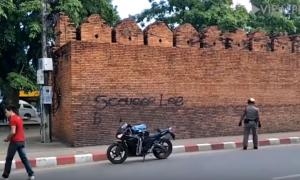 The graffiti at Tha Phae Gate, Chiang Mai Thailand.