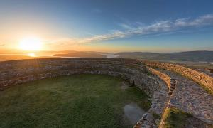 "Overlooking Inch Island from the ""Grainan of Aileach"" ancient stone ring fort, Donegal, Ireland."