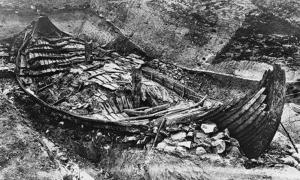 The excavation of the Oseberg Ship, Norway. 1904 - 1905.