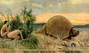 Illustration of Paleo-Indians hunting a glyptodont by Heinrich Harder (1858-1935)