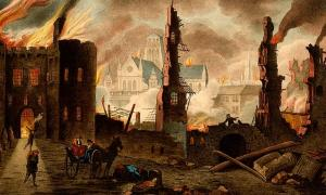 Great Fire of London in the year 1666 by William Russel Birch