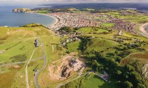 Aerial view of the Great Orme mine site looking south-east towards Llandudno).