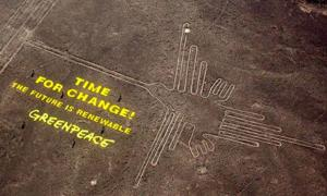 Greenpeace treads on ancient Nazca lines site to urge renewable energy