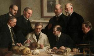 Group portrait of the Piltdown skull being examined. Painted by John Cooke in 1915. Back row: (left to right) F. O. Barlow, G. Elliot Smith, Charles Dawson, Arthur Smith Woodward. Front row: A. S. Underwood, Arthur Keith, W. P. Pycraft, and Sir Ray Lankester. Note the painting of Charles Darwin on the wall as well.