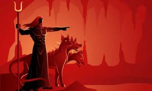 Hades, god of the underworld and Cerberus, his dog. (rudall30 / Adobe Stock)