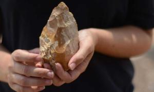 Prehistoric hand axe found in Israel.