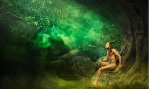 Half-man, half-supernatural being living in nature
