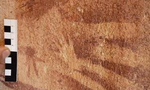 A tiny hand, originally assumed to be of a very young child or infant was stenciled inside the outline of an adult hand on the wall of the Wadi Sura II rock shelter about 8,000 years ago. New research suggests that the prints were actually made by reptiles.