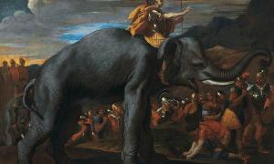 Hannibal crossing the Alps on elephants by Nicolas Poussin