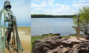 King Arthur monument in Tintagel, Cornwall.(left), Excalibur in Brocéliande Forest, Brittany, France.(right)