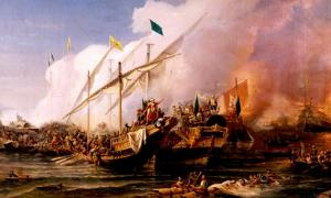 Barbarossa Hayreddin Pasha defeats the Holy League of Charles V under the command of Andrea Doria at the Battle of Preveza (1538).