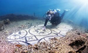 A diver explores the Baiae Underwater Archaeological Site