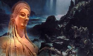 Statue of Persephone, circa 525 BC and painting The Deluge