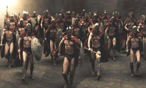 Screenshot from the movie 300 on the Spartan War which used Helots in combat on many occasions.