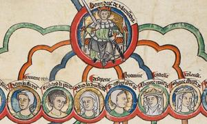 13th-century depiction of Henry II and his legitimate children: William, Henry, Richard, Matilda, Geoffrey, Eleanor, Joan and John.
