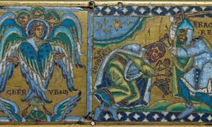 Heraclius is depicted beheading Choroses, the Persian king as Cherubim angels look on.