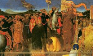 Burning of a heretic by Sassetta (1423) Melburn Museum(Public Domain)