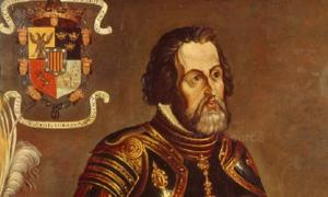 Hernán Cortés Monroy, with his coat of arms on the upper left corner. Painting reproduced in the book America, (R. Cronau 19th century).