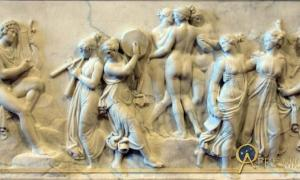 The Dance of the Muses at Mount Helicon by Bertel Thorvaldsen (1807). Hesiod cites inspiration from the Muses while on Mount Helicon.