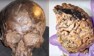 The Heslington skull and brain. Source: Top 5 Scary Videos / YouTube.