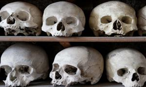 Skulls and bones are piled high at the charnel house Rothwell, Northamptonshire, England.