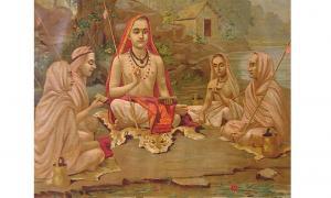 Hindu devotee practicing jñāna yoga, one of the methods believed to help attain mukthi