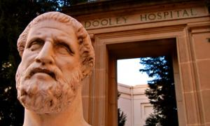 Hippocrates Statue and Dooley Hospital Door.	Source: CC BY 2.0