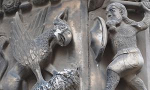 Guifré el Pilós (Wilfred the Hairy), Founder of Catalonia, Slaying a Dragon. Cathedral of Barcelona. Spain.