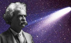 A 1909 photo of Mark Twain. (Public Domain) Background: Halley's Comet as taken March 8, 1986 by W. Liller, Easter Island, part of the International Halley Watch (IHW) Large Scale Phenomena Network. (Public Domain) It's an interesting historical coincidence that Mark Twain was born and died alongside appearances of Halley's Comet.