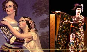 Left, Sisters Charlotte and Susan Cushman in Shakespeare's Romeo and Juliet in 1846. Right, Male Kabuki actor in Japan