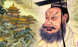 Penglai, depiction of one of the mythical islands (Public Domain), and Qin Shi Huang in a 19th century portrait (Public Domain);Deriv.