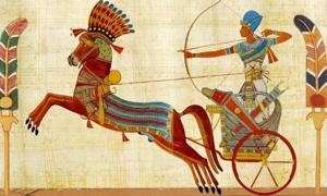Representation of an ancient Egyptian chariot.