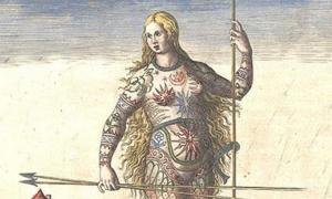 """The Painted Ones"" hand-colored version of Theodor de Bry's engraving of a Pict woman who is either painted or tattooed."