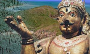 Plate 1: Australian eastern seaboard (Google Earth), Statue of Garuda (Hyougushi / Hideyuki KAMON from National Museum in Delhi, India/CC BY-SA 2.0) and Tamil inscriptions, Tamil Nadu. (Shivz Photography/CC BY 2.0) Deriv.
