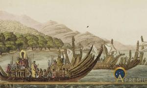 Tahitian warrior dugouts, by Giulio Ferrario. (1827) (Public Domain)