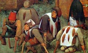 "Painting by Pieter Bruegel the Elder, titled The Cripples, shows victims of the ""Holy Fire"" disease.        Source: Pieter Brueghel the Elder / Public domain"