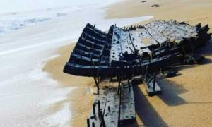 The well-preserved remains of a shipwreck on a Florida beach.