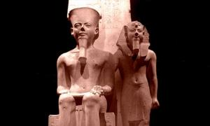 A limestone sculpture from the Temple of Amun in Thebes depicts Horemheb standing beside the state god; design by Anand Balaji