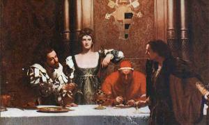 "The House of Borgia is depicted here as ""A glass of wine with Cesare Borgia,"" a painting that clearly shows the wealth and power (church power) of this illustrious and infamous family."